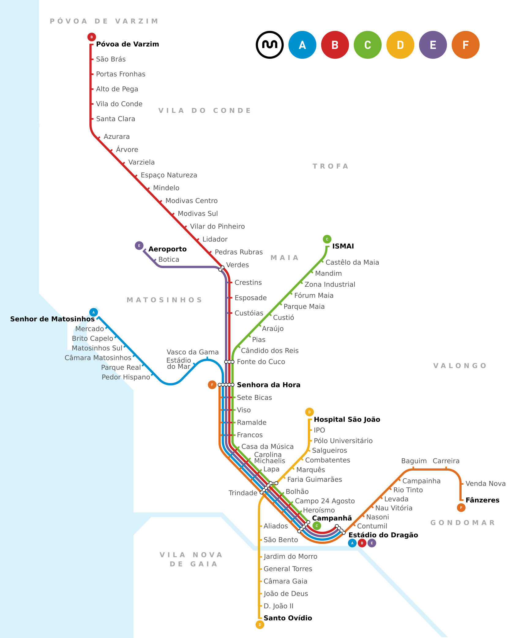 Plan du Metro de Porto - Portugal