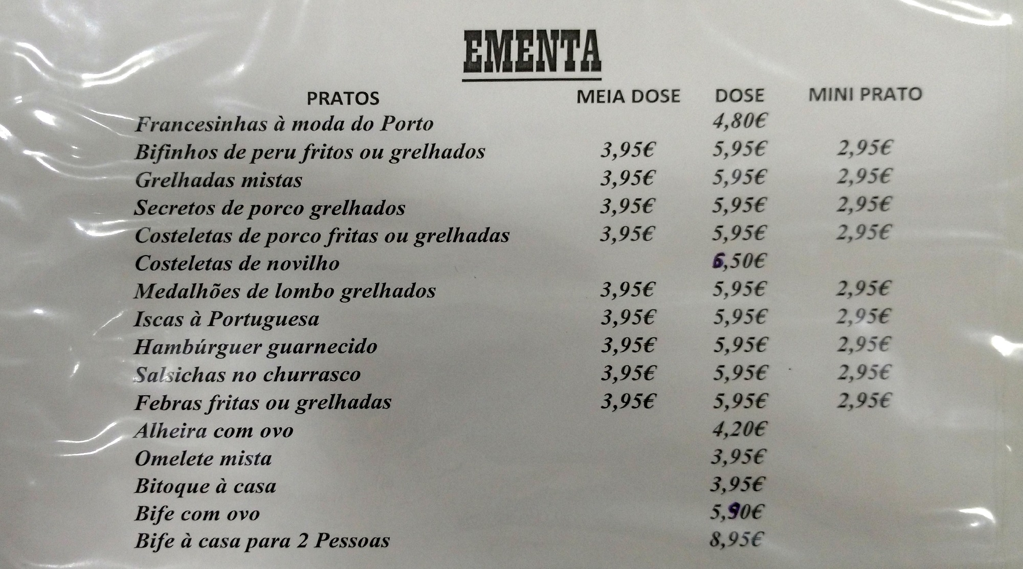 Menu restaurant portugais avec dose - demi-dose et mini-dose