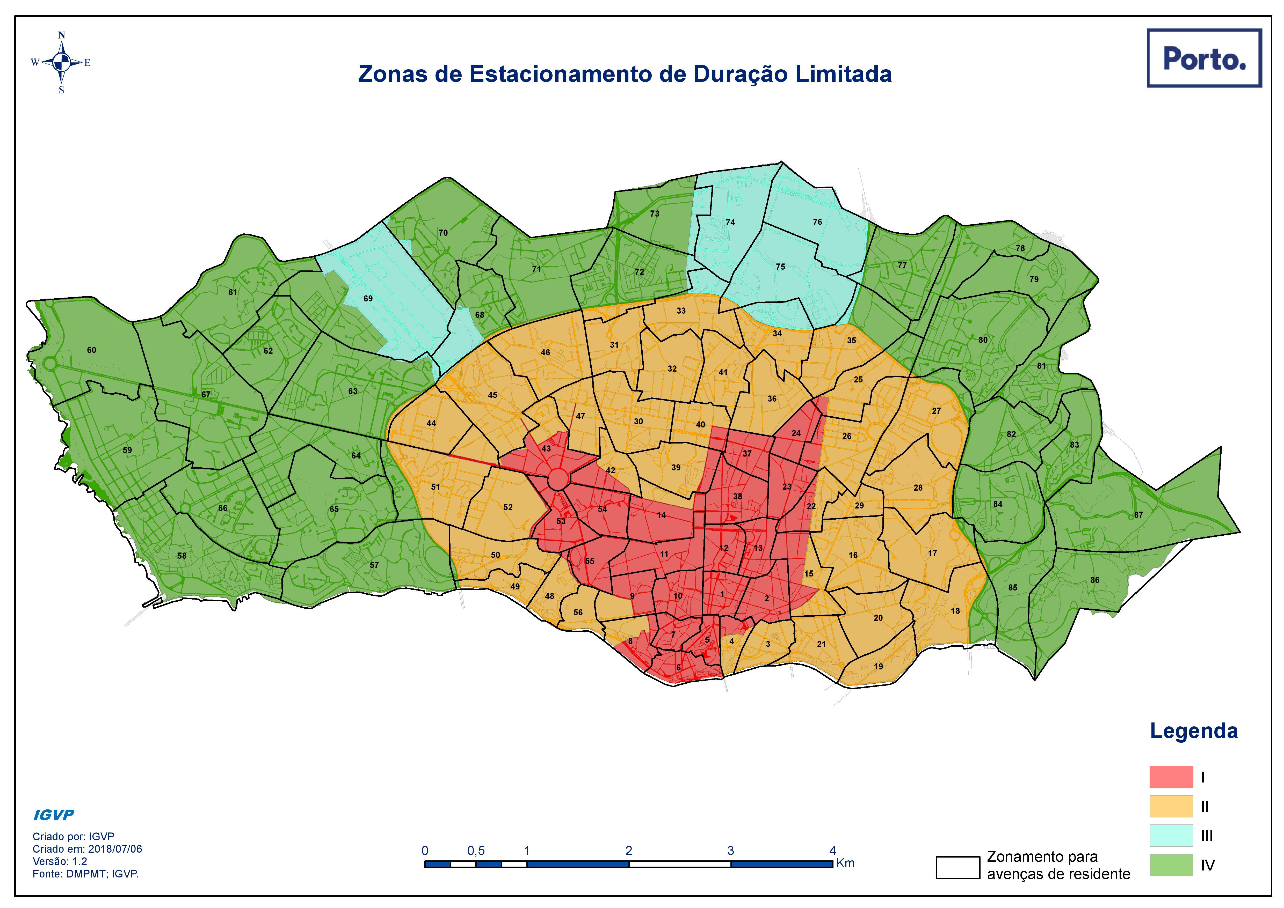 Repartition des zones tarifaires de stationnement - Porto